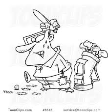 cartoon black and white line drawing of a sweaty golfer with holes in the gr 6545 by ron leishman