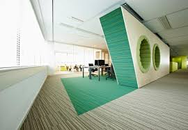 combined office interiors. Office, Attractive Opened Office Design Combined With Unique Green White Wall Circle Light Interiors