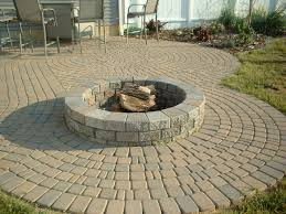 exterior design fire pit on patio pavers propane