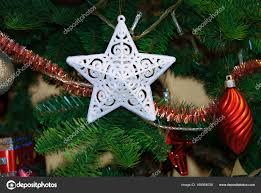 Dekoration Weiße Weihnachtsstern Im Weihnachtsbaum
