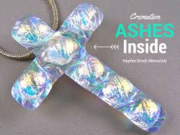 cremation ashes jewelry cross layered clear diamonds dichroic glass sea green peach accents memorial pendant