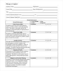 Employee Performance Review Template Evaluation Form Doc Military Co ...