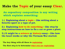 writing expository compositions starting your essay at some point  make the topic of your essay clear