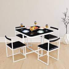 kube mild steel four seater dining set in black white colour by hometown