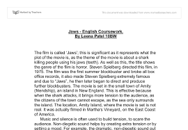 jaws film essay gcse english marked by teachers com document image preview