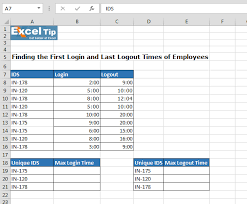 Finding The First Login And Last Logout Times Of Employees Excel
