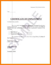 Certification Of Employment Letter Sample Employment Verification