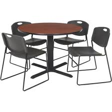 regency 5 piece 36 round lunchroom table with metal x
