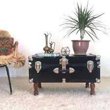 vintage antique black steamer trunk coffee table blanket misc tables