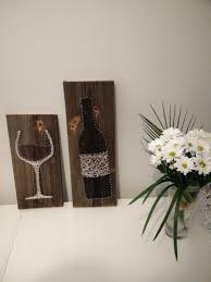 nail and string art wine bottle and glass | Nail & String Art ...