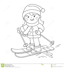 coloring page outline of cartoon skiing winter sports coloring book for kids