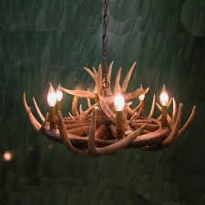 peak wagon wheel whitetail antler chandelier 6 light