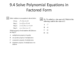 73 9 4 solve polynomial equations in factored form released items aligned to mcdougal littell algebra 1 copyright