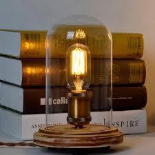 e27 vintage wooden glass table lamp desk light for bedroom indoor