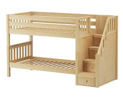 Maxtrix STACKER Low Bunk Bed With Stairs  Matrix Kids Furniture Solid Wood Frames