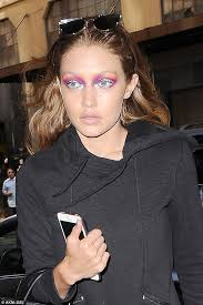 wow gigi hadid showed off her unique eye make up in new york on tuesday