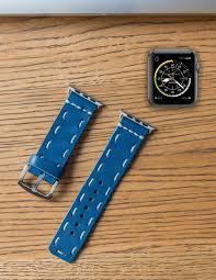 handmade leather apple watch strap blue