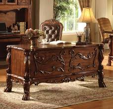 attractive wooden office desk. Dresden Collection Cherry Oak Finish Wood Detailed Carvings Ornate Office Desk With Claw Feet Design. This Features And In Attractive Wooden F
