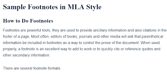 Mla Formatted Sample Footnotes In Mla Style A Research Guide For Students