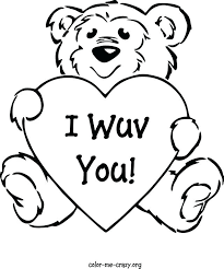 Teddy Bear With Heart Coloring Pages Combined With Heart For