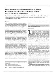Pdf One Repetition Maximum Bench Press Performance