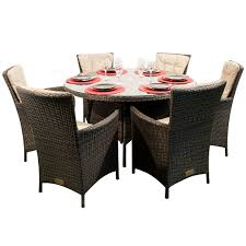 kensington club 6 dining armchairs with a 135cm round table mixed brown