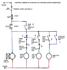 star delta starter electrical notes articles the on push button starts the circuit by initially energizing star contactor coil km1 of star circuit and timer coil kt circuit