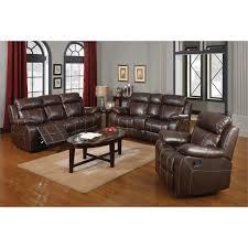 3 piece leather reclining sofa set