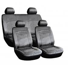 8 pcs leather look pvc seat covers black white stitching