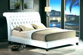Tufted Headboard Queen Bed Frame Mattress White Cushion Padded ...