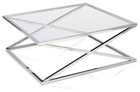 Modern Style Of Square Glass Coffee Table With X Shape Legs Design Ideas