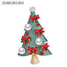 2019 <b>ZHBORUINI 2019 Natural</b> Pearl Brooch Christmas Tree Pearl ...