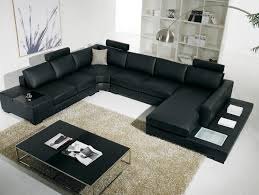 black modern couches. Brilliant Modern Modern Furniture Design Of Black U Shaped Sofa And Matching Coffee Table Throughout Couches S