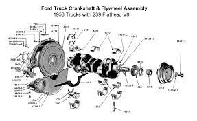 flathead parts drawings engines crankshaft flywheel assy for 1953 trucks · complete engine