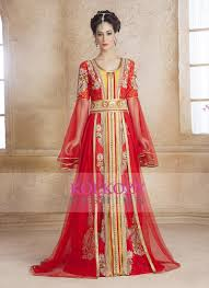 Classy Gold And Red Modern Moroccan Wedding Dress Kaftan