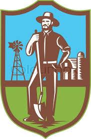 farm barn clip art. Farmer With Spade Windmill Farm Barn Retro, Vector Clip Art