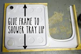 gluing frame to shower tray