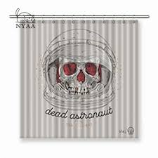 nyaa thin line skull label retro vector graphic element stroke hipster polyester fabric shower curtain for bathroom with hooks shower curtains