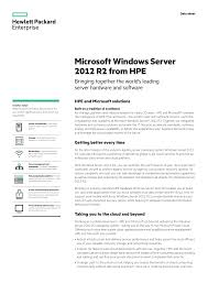 Microsoft Windows Server 2012 R2 From Hpe Bringing Together