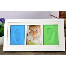 babies bloom unique blue and green clay baby hand and footprint imprint frame kit