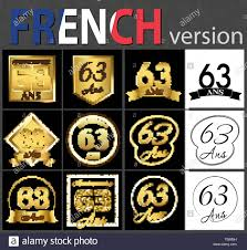 Sixty Design Set Of Number Sixty Three Years 63 Years Celebration
