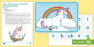 Word Photo Maker Phase 2 Phonics Unicorn Themed Cvc Word Maker Busy Bag