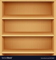 empty wooden bookshelves vector image