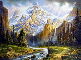 Mountains Magic Mountain Peaceful Painting Water Tree Outdoor