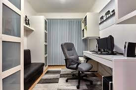 small home office. Small Home Office With White Decor Shelving And Black Bench Small A