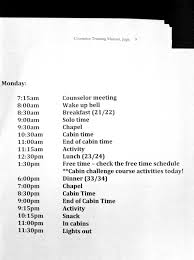 Summer Camp Daily Schedule Template Julie Annes Experience At High School Summer Camp Spiritual