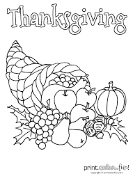 Small Picture Thanksgiving cornucopia coloring page Print Color Fun