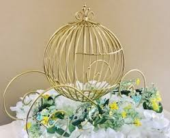 Description. CUSTOM ITEM - GOLD METAL MODERN CINDERELLA CARRIAGE CENTERPIECE  ...