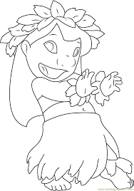 Lilo Dancing Coloring Page - Free Lilo & Stitch Coloring Pages ...