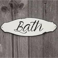 enamel script bath sign